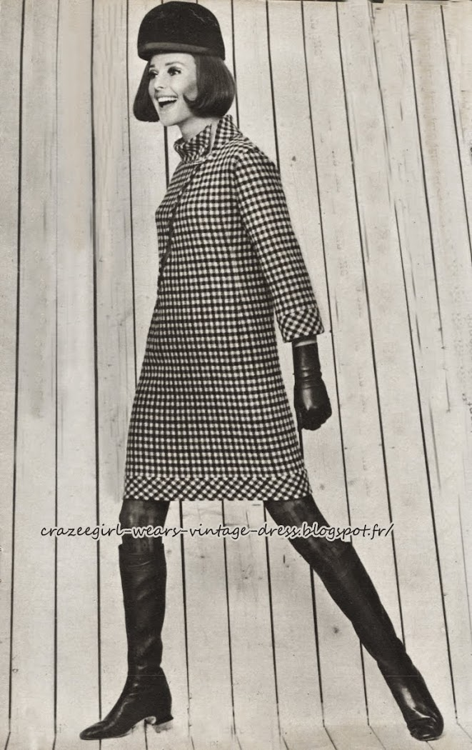 Pierre Cardin - dress coat -1966 black white gingham check 60s 1960 mod