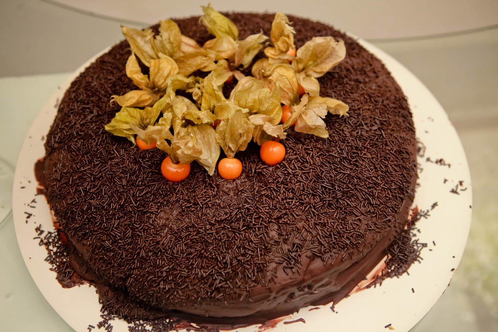 Bolo de chocolate com Phisalys