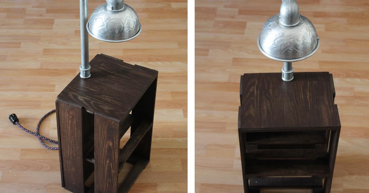 diy industrial style nachttisch aus weinkiste und integrierter touch sensor. Black Bedroom Furniture Sets. Home Design Ideas