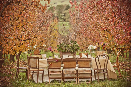 I love the idea of a rustic outdoor Thanksgiving table. & La La Linen: Thanksgiving Table Settings 2011