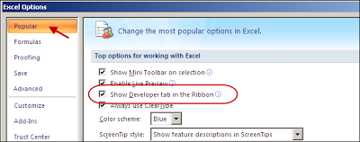 tab developer excel 2007