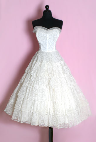 1950′S Lace Tiers Strapless Dress from Posh Girl Vintage