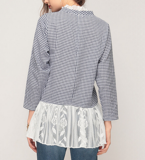 Gingham Lace Combination Top
