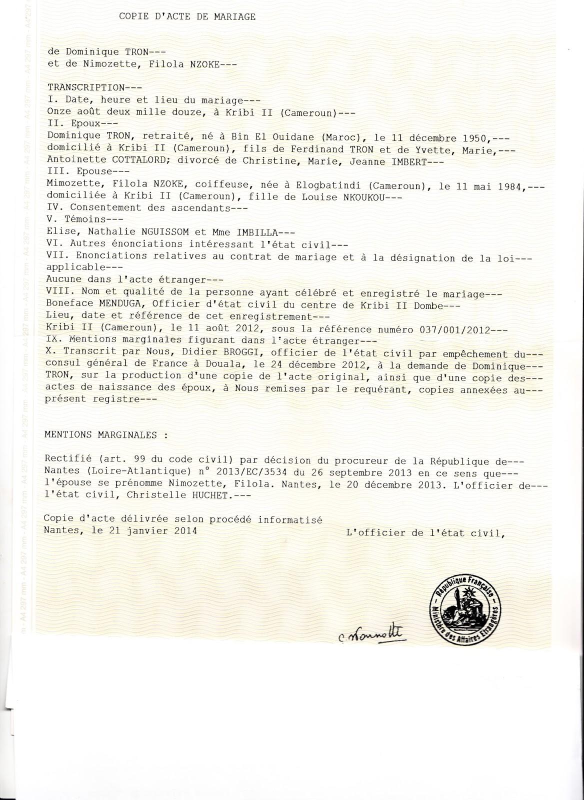 copie du 21 janvier 2014 de la transcription su letat civil franais de lacte de mariage de dominique tron et nimozette filola nzoke clbr le 11 aot - Acte De Mariage Nante