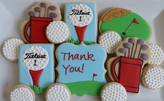 golf themed thank you cookies