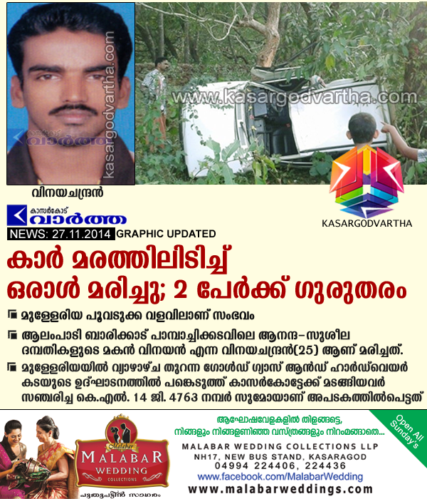 Accident, Mulleria, kasaragod, Kerala, Shop, inauguration, Accident at Mulleriya - 1 Killed on Spot