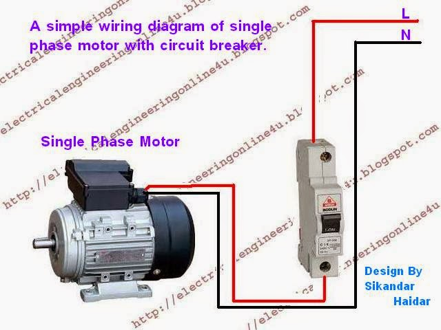 how to wire a switched single phase motor using circuit breaker single phase motor wiring diagram