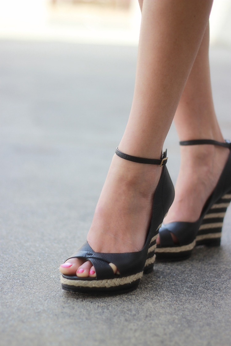striped espadrilles wedges black and nude combo peeptoe ankle strap laundry by shelli segal