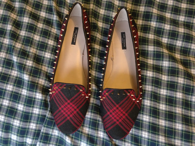 Zara flat spike tartan shoes