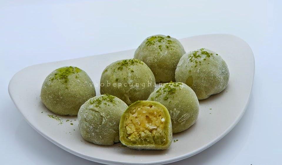 Cách làm bánh Mochi trà xanh nhân đậu xanh