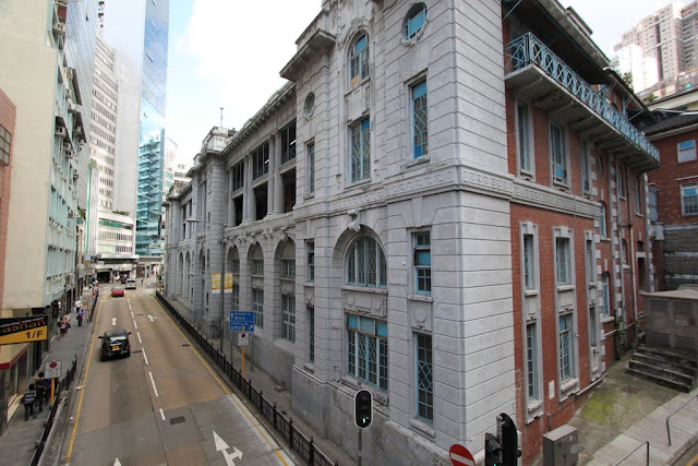 Central District Police Station in its colonial historical building, can be seen from SoHO Central Mid Level Escalator in Hong Kong Island, Hong Kong