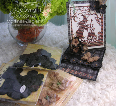 halloween twisted easel card supplies with petaloo flowers