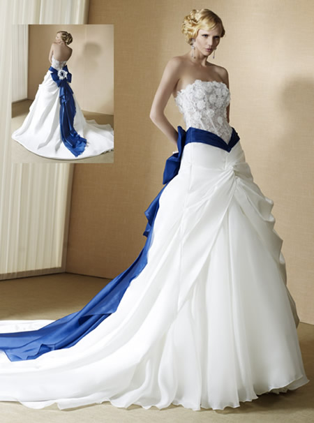 Wedding dress with color accents and style indonesian batik for White wedding dress with blue accents