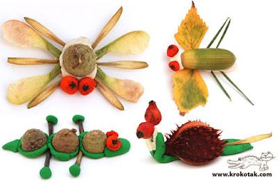 осенние поделки для детей из природного материала в сад
