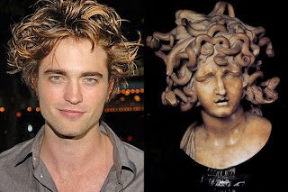 Robert Pattinson, wild snake like hair and Medusa