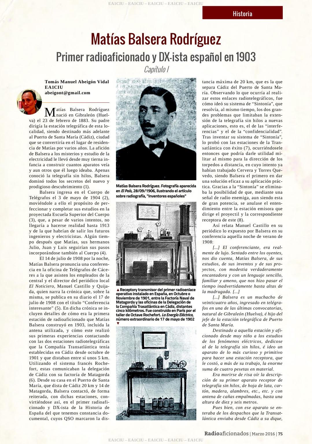 Conoce al primer Radioaficionado Español