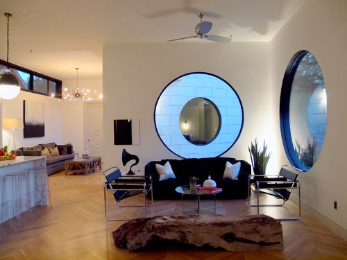 barcelona modern interior design with circle glass window