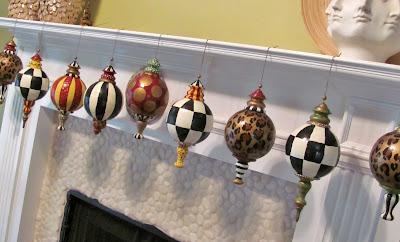 hand painted large finial style designer christmas ornaments