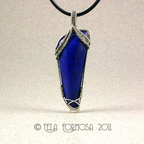 BIG Bright Blue Solid Lapis Sterling Silver Large Handmade Pendant