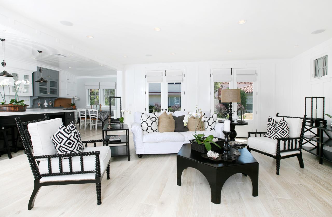 Whitewashed Oak Hardwood Floors in Living Room
