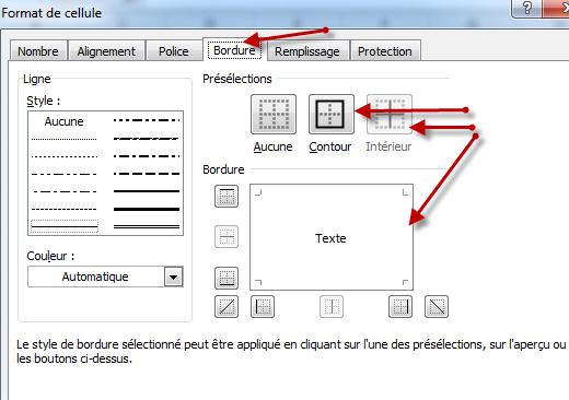 استعمال الأداة Bordures في النافذة Format de cellule