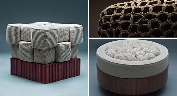 Muebles tejidos a mano sillines asientos crochet