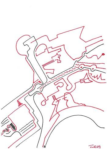 Zeichnung Bild / painting picture : Industrie-Ansicht / industrial view