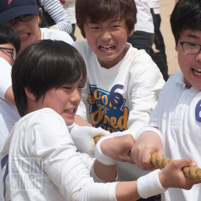 "Kids playing ""Tug of ""War"" during Sports Day at Bibong Elementary in Ochang, South Korea."