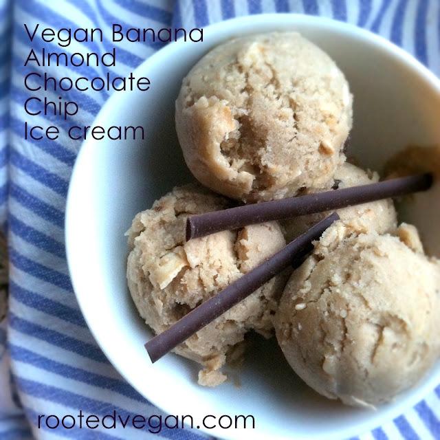 Vegan Banana Almond Butter Chocolate Chip Ice Cream | RootedVegan.com