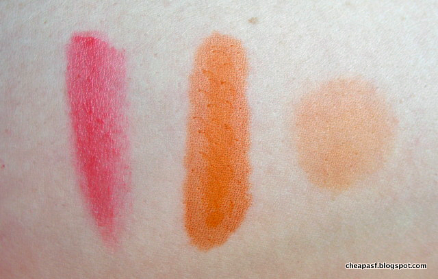 Swatches of Wet N Wild MegaSlicks Balm Stain in Coral of the Story and Peripera Peri's Tint Water in Mandarin #4