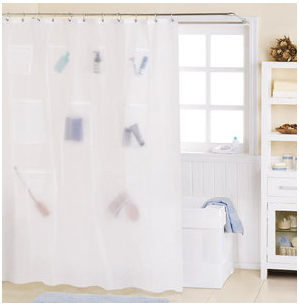 DIY Shower Curtain For Storage