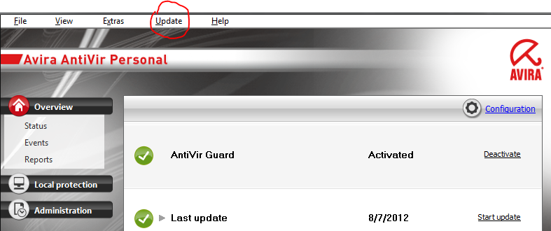 update manual avira