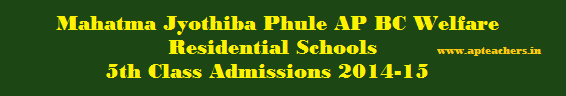 Mahatma Jyothiba Phule AP BC Welfare Residential Schools 5th Class Admissions 2014-15