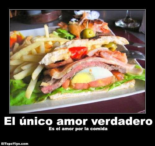 Desmotivacion el unico amor verdadero es el amor por la comida