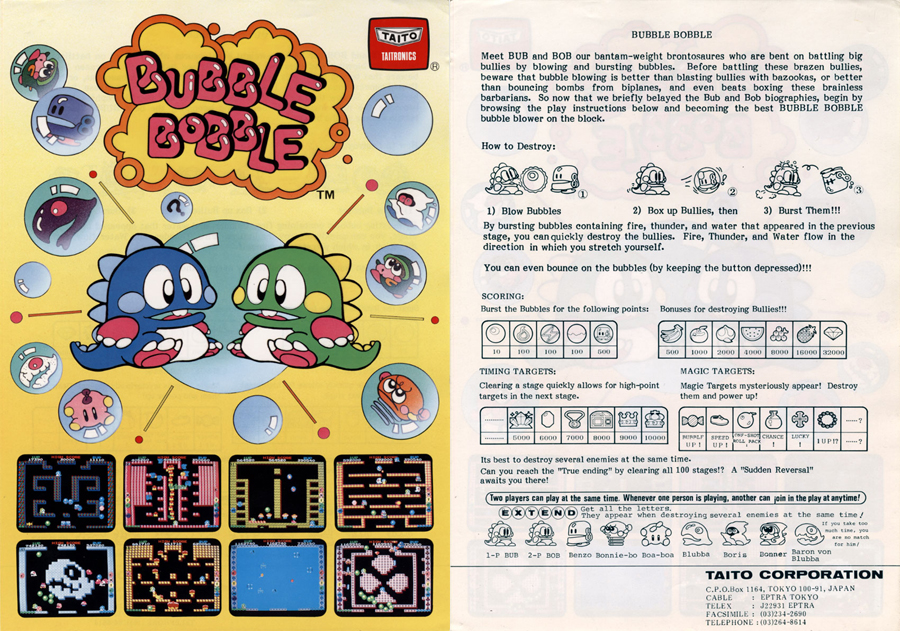 bubble bobble arcade machine  flyer