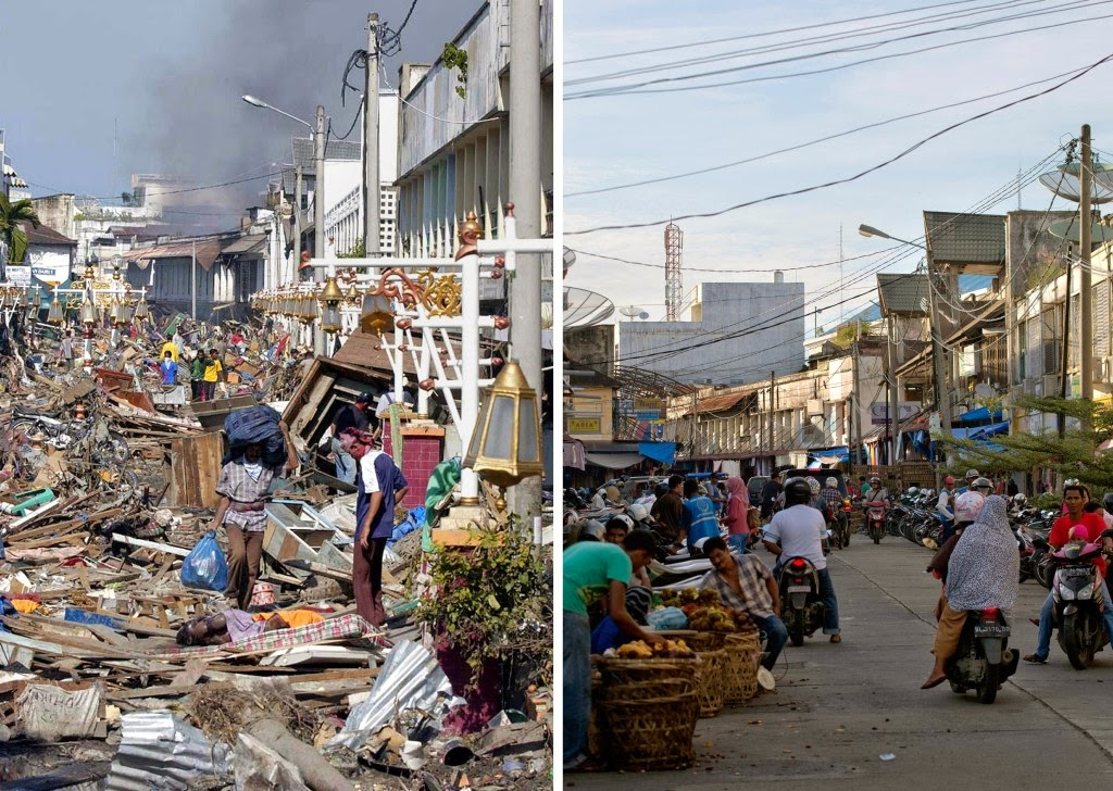 This combo shows a file photo, left, taken on Dec. 29, 2004 of residents walking over huge pile of debris covering the street of Banda Aceh in Aceh province, located on Indonesia's Sumatra island where surrounding houses and buildings were heavily damaged and coastal villages wiped out in the aftermath of the massive Dec. 26, 2004 tsunami trigerred by an earthquake, and the same location photographed on Nov. 27, 2014. right, Indonesia will on Dec. 26, 2014 mark the 10th year anniversary of the deadly tsunami which killed more than 170,000 people in Aceh, and tens of thousands of others in other countries around the Indian Ocean. (AFP Photo/Bay Ismoyo)