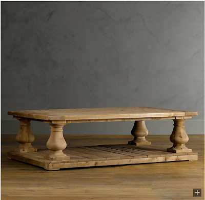 Restoration hardware balustrade salvaged wood coffee table decor look alikes Restoration coffee tables