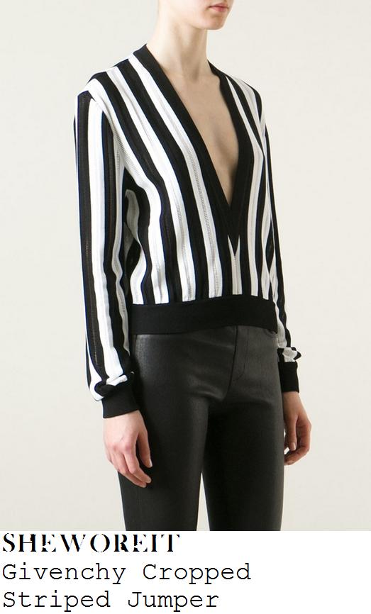 kendall-jenner-black-white-stripe-plunge-front-jumper