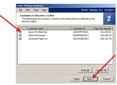 Select Customers to Receive Letter, in Letter Writing Assistant