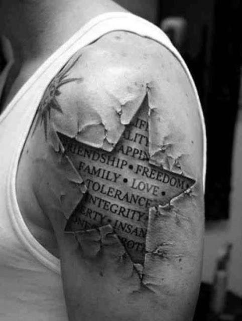 Tatuaje estrella 3D con texto