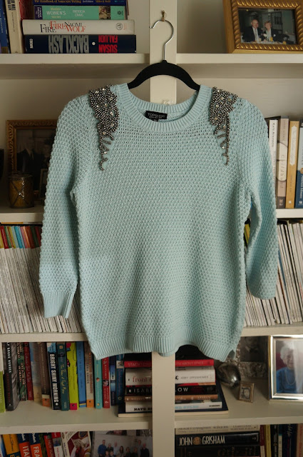 Topshop pastel blue embellished shoulder knit sweater