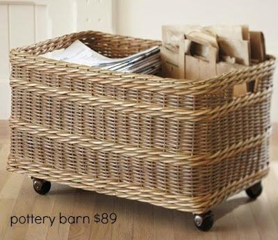 pottery barn inspired rolling basket. Black Bedroom Furniture Sets. Home Design Ideas