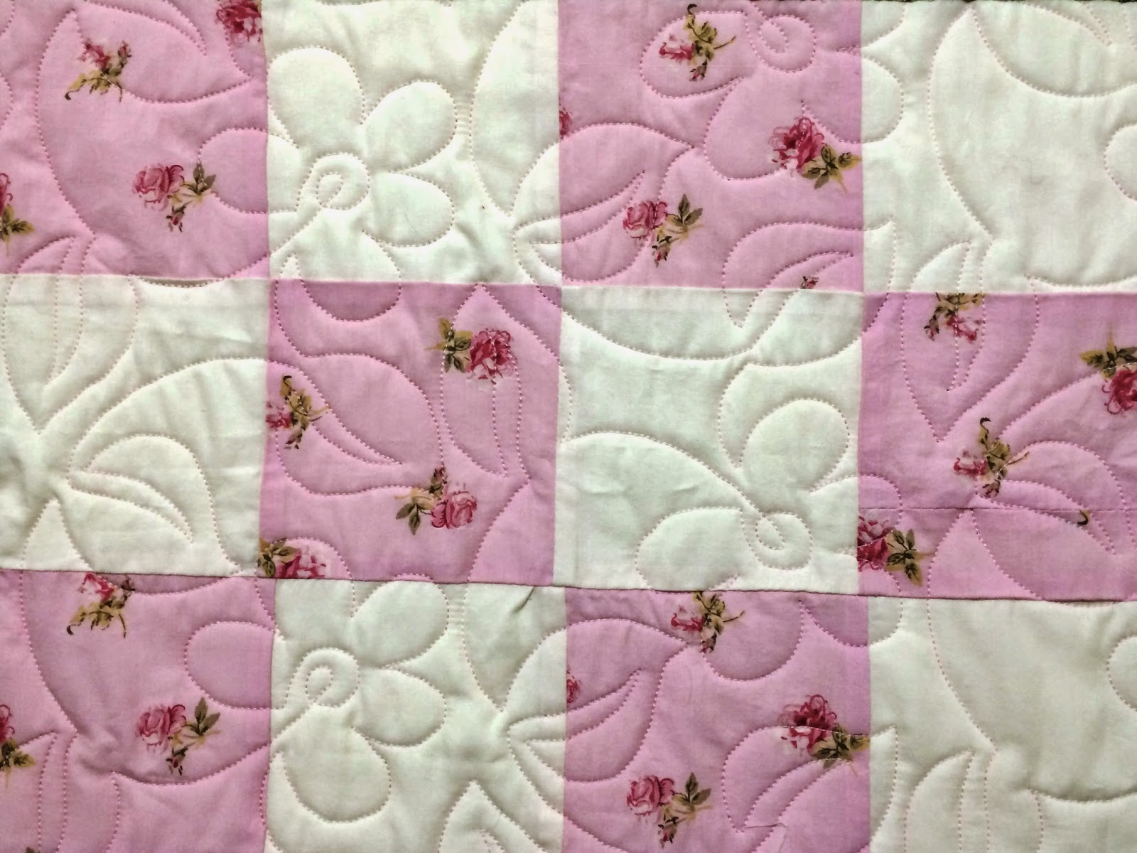 Cynthia Lance's Pink Squares with Green Borders Quilt