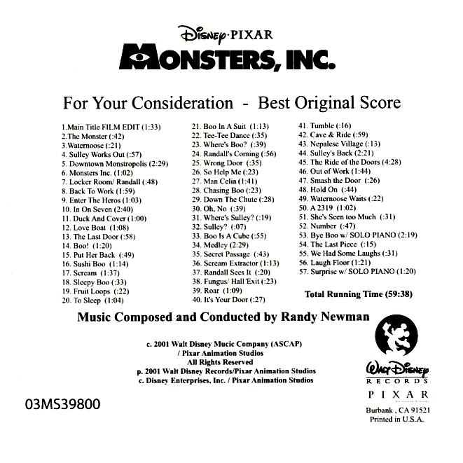 Chronological Scores / Soundtracks: Monsters, Inc.