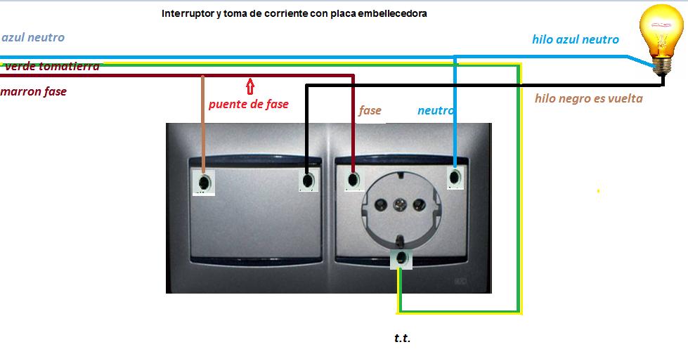 Conexion enchufe y interruptor esquemas el ctricos for Como instalar un enchufe