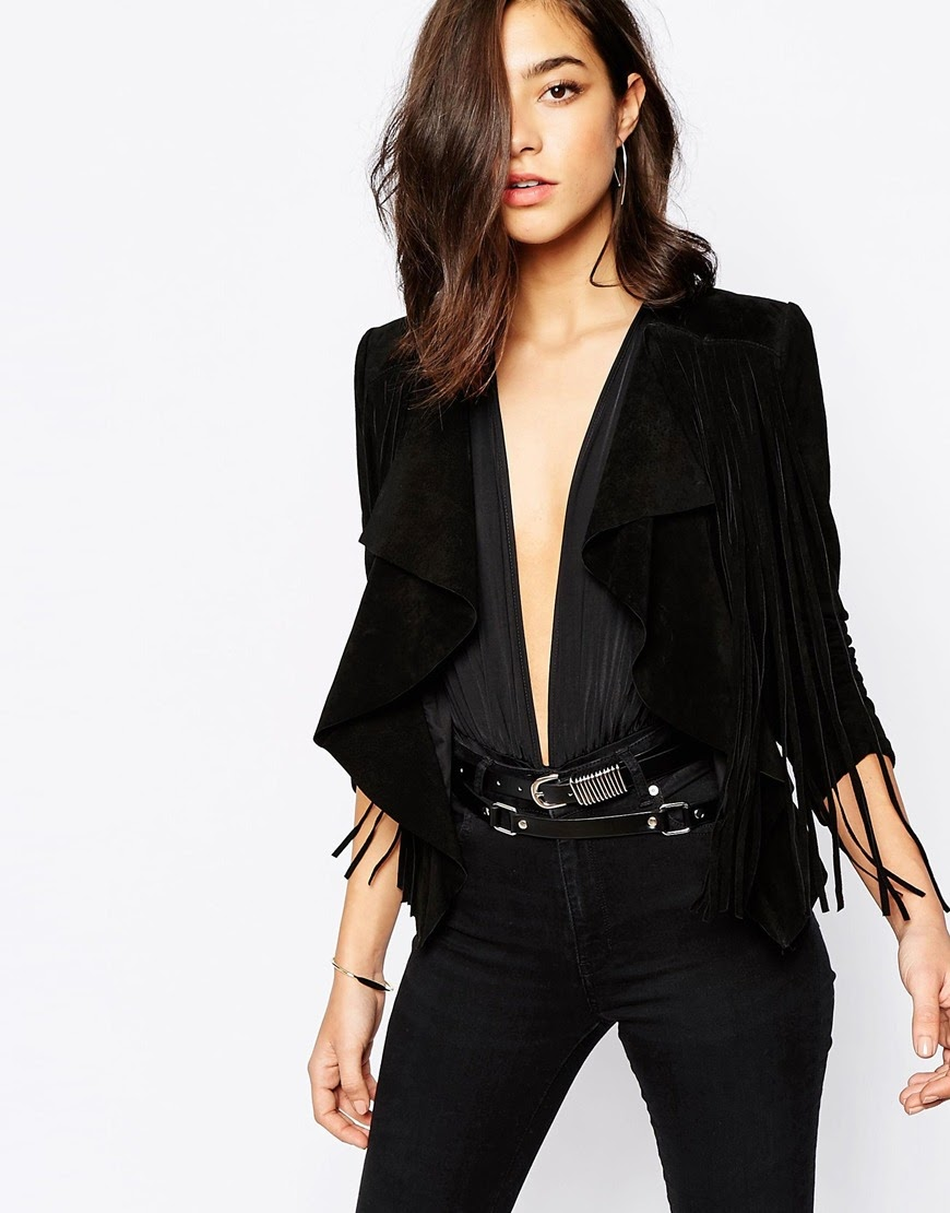 warehouse black suede jacket, black suede fringe jacket,