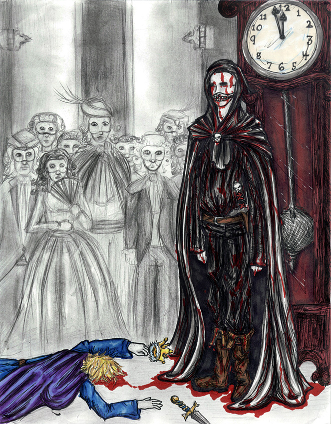 an analysis of the theme of death in the lottery and masque of the red death After a few months, the red death is at its height but the prince holds a fabulous masked ball, throughout the imperial suite, whose seven rooms are here, the chime of the clock sounds solemn and loud, whereas in the other, brighter rooms it has a merry sound the architecture of the scene.