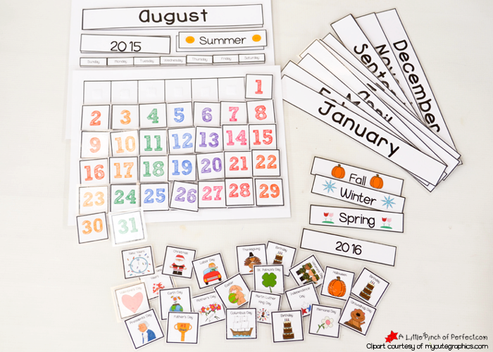 It Comes With A Calendar Template And All The Pieces Needed (months, Days  Of The Week, Years, Seasons, Days, And Holidays) To Assemble A Cute And  Colorful ...