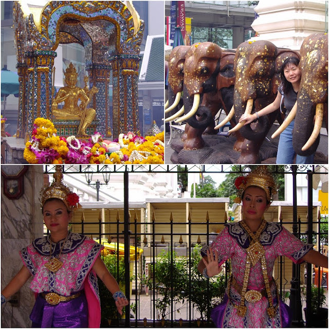 Erawan Shrine is a Hindu shrine and some Thai dancing performance next to Grand Hyatt Erawan Hotel in Bangkok, Thailand