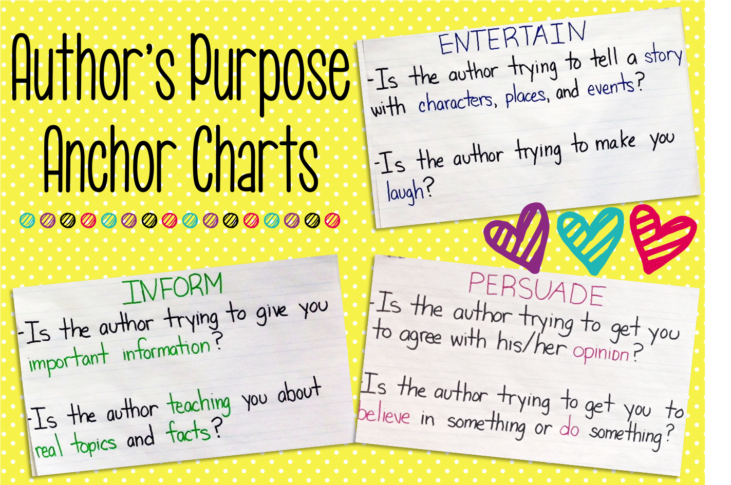 Create these simple author's purpose anchor charts (entertain, persuade, and inform) for your students as a reference.